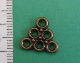 Bronze triangle 14mm square charm