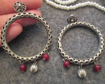 Beautiful Antiqued Silver Post Hoops with Garnet Dangles> Openwork design> Pierced Post
