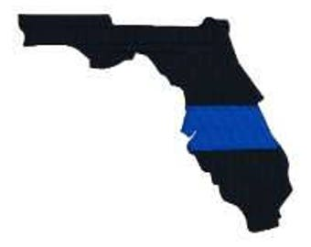"BUY 2 GET 1 FREE - Florida Thin Blue Line Machine Embroidery Design in 4 Sizes, 2"", 3"", 4"", 5"""