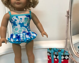 NEW! American Made One-piece double ruffled Swimsuit/ beach bag and sandals made to fit 18 inch dolls such as American Girl
