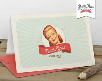 Thank You Cards - 50s Housewife Bridal Shower // INSTANT DOWNLOAD // Retro // Thank You Note // Digital Printable DIY ws01
