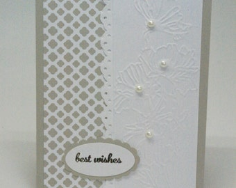 Pretty White Wedding Card, Handcrafted Beige Bridal Shower Card, Taupe Best Wishes Card, Happy for You Two, Embossed Floral Wedding Card