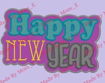 Happy New Year Bubble Outline Applique