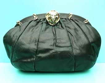 Vintage Judith Leiber/Large Green Snakeskin Purse/Green Snakeskin Leather Purse Clutch/Judith Leiber Large Green Purse/Lion Head