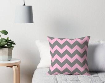 Pink Gray Pillow, Pink Gray Chevron, Pink Gray Bedding, Pink Gray Toss Pillow, Pink Gray Decorative Pillow, Pink Gray Room, Pink Toss Pillow