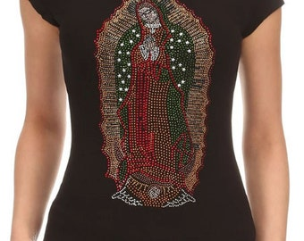 Guadalupe - Virgin Mary Rhihenstone Crew Neck Short Sleeve Shirt