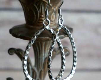 Textured Antique Silver Teardrop Earrings - Silver Earrings Teardrop Earring Dangle Earrings Drop Earrings Statement Earrings Long Earrings