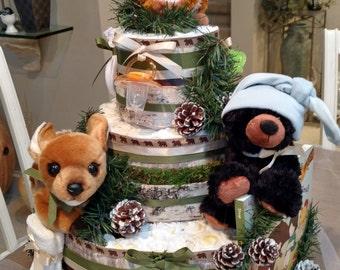 Woodland Diaper cake,  woodland cake, black bear, fox centerpiece, 3 Tier