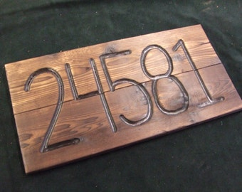 CUSTOM wood address sign -- hand carved -- rustic un painted -- your  numbers on reclaimed western cedar