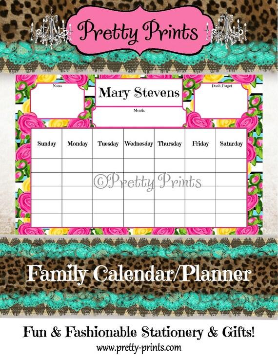 Family Calendar - Family Planner - Desk Calendar - Floral - Pink - 11 x 17 - Personalized Pad - Preppy