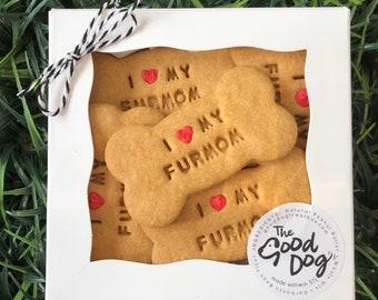 I love my Furmom Treat Box /  Grain Free Peanut Butter Treats / Dog Gift / Dog Cookies / Stamped Dog Treats