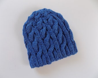 Baby Boy Hat, Knit Blue Beanie, Knit Cabled Hat, Winter Beanie, Boy Clothes, Baby Hat