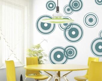 Vinyl Wall Decal, Retro Bullseye- 12 graphics, Wallpaper, Stickers, item 10001