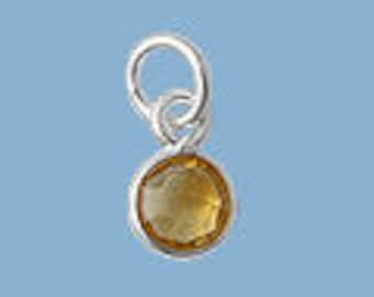 1ea. Tiny 6mm Honey Citrine Bezel Pendant.  Sterling Silver with 5mm Jump Ring Birthstone