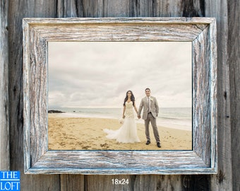 "The Post & Beam Whitewashed Pickled White 3.75"" - (All Sizes) -The Loft Signature Handcrafted Vintage Barn Wood Frames"