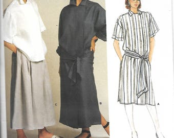 Vogue 1521 American Designer Perry Ellis, Misses A-line Wrap Dress, Asymmetrical Opening Front Top & Pleated Skirt Pattern, Size 8, UNCUT