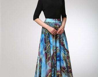 chiffon skirt, long skirt, summer skirt, womens skirts, elastic waist skirt, printed skirt, casual skirt, swing skirt, gift for her (1294)