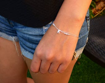 Personalized Bracelet Silver - Capital letter on double Sterling silver chain decorated with tiny beads, Silver Bracelet, Initial Bracelet