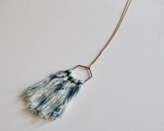 SAMPLE SALE* Indigo Dyed Shibori Raw Brass Fiber Necklace