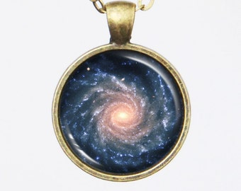 Spiral Galaxy Necklace - Grand Spiral Galaxy NGC 1232 - Galaxy Series (G010)