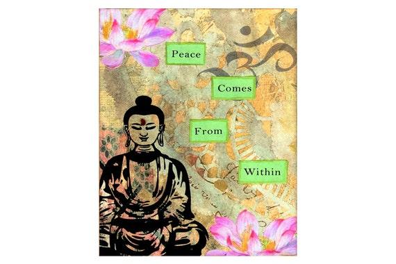 Buddha Art Print 5x7 Inspirational Peace Buddha Quote Wall