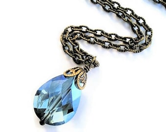 Blue Necklace Crystal Jewelry Victorian Necklace Blue Jewelry Chain Necklace Bohemian Jewelry Teardrop Necklace Gift For Her Charm Necklace