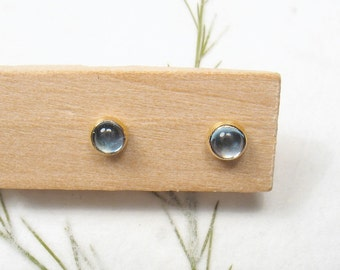 3mm cabochon Blue Topaz  , solid 9k yellow gold studs earrings, Mother day earrings