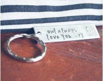 Aluminum Owl Always Love You Key Ring - Custom Initials Keychain - Owl Keyring - I Love You - Best Friends / Couples Keychain