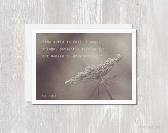 Inspirational Greeting Card | The World is Full of Magic QuoteBlank Inside | Yeats Quote | Encouragement