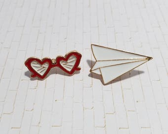 Heart Sunglasses and Paper Plane Pins
