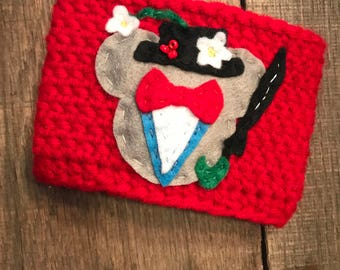 Mickey Mouse Mary Poppins Coffee Cup Cozy / Reusable Cozy / Crochet Coffee Sleeve