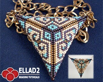 TUTORIAL Peyote Triangle Two-sides - Beading tutorial, Beading pattern, peyote stitch, triangle peyote stitch, Ellad2