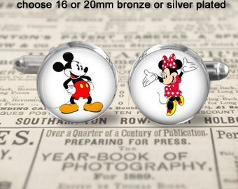 Mickey and Minnie Mouse Cufflinks - Accessories - Choose Size & Finish - 16 or 20mm - Bronze or Silver Plated - Cartoon Cufflinks - Gift