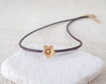 Leather Choker, Short Leather Necklace, Gold Flower Necklace, Layering Necklace, Boho Necklace