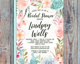 Succulents Cactus Boho Sweet Floral Pastel Bridal Shower Bachelorette Hens Night Party Printable Invitation