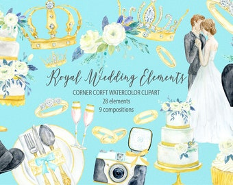 Royal wedding elements, watercolor clipart, royal wedding icons, crown, diamond ring, cake,  for wedding program, instant download