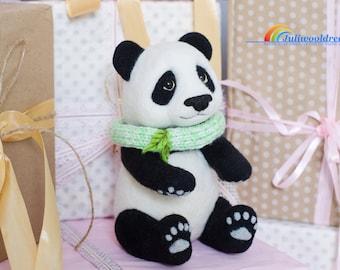Needle felted panda, Needle felted animal, Unique gift, Birthday gift, Gift for her, Needle felt, Gift idea, Panda gifts, Needle felting