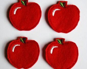 Set of 4 Whole Red Apple Feltie Felt Embellishments