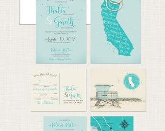 Destination wedding invitation California Beach illustrated wedding invitation Newport Coast Huntington Beach Los Angeles - Deposit Payment
