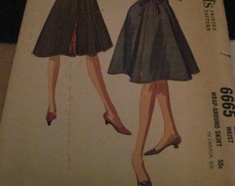 Vintage McCALL'S Pattern #6665...sz.Med 14-16..wRAP aROUND sKIRT ....1962....#28....
