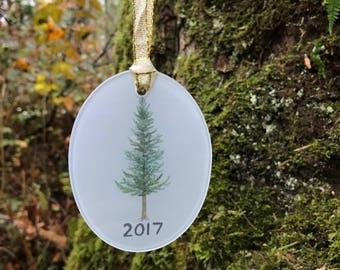 Douglas Fir Ornament / Glass Ornament / Evergreen Tree Ornament / Pacific Northwest Ornament / Cascadia Ornament / 2017 Ornament / Fir Tree