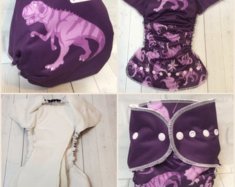 All in two - AI2 - Cloth diaper - Snap in insert - Purple Dino - Rawr