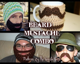 5 Pack- Beard & Mustache Combo PDF Pattern Pack - Instant Download