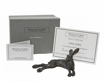 Foundry Bronze Lying Hare Sculpture by Sue Maclaurin (Solid Bronze Hare).  Limited Edition 250. Beautifully gift boxed.