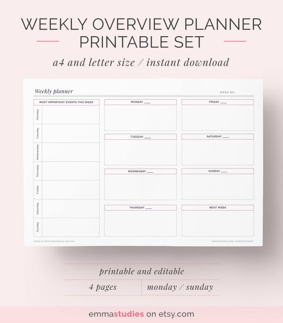 Weekly Overview Planner Printable Set Bullet Journal