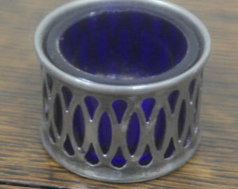 antique silver plate blue glass liner table salt