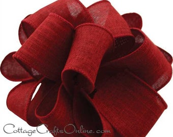 "Wired Ribbon, 1 1/2"", Burgundy Red Faux Linen - THREE YARDS  -  ""Divine"" Fall, Christmas, Thanksgiving Craft Wire Edged Ribbon"