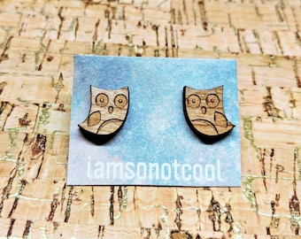 Wood Owl Earrings - Wood Stud Earrings, Laser-Cut Owl Studs, Walnut Wood Earrings, Hypoallergenic