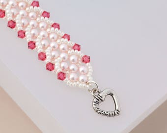 Hot Pink Crystal Heart Bracelet Pearl Bracelet Swarovski Crystal Wedding Jewelry Seed Bead Jewelry Mother in Law Gift Ivory Bracelet