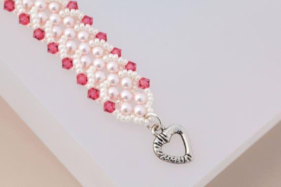 Hot Pink Crystal Heart Bracelet Pearl Bracelet Swarovski Crystal Wedding Jewelry Seed Bead Jewelry Mother in Law Gift Ivory Bracelet
